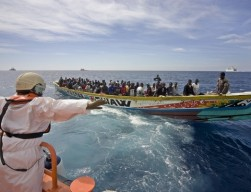 A traditional fishing boat laden with migrants off Tenerife