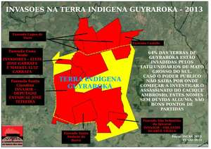 Sugar cane plantations (in red) occupy most of the ancestral land (yellow outline) of Ambrósio's community. © Tribunal Popular