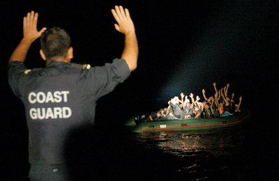 Greek Coastguard near the island of Samos apprehending a boat with 25 migrants, November 2009