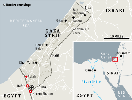 Border Map and crossing points of Egypt-Gaza-Israel