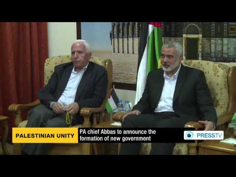 Palestinian Consensus Government, Hamas and Fatah Leaders after agreement in June 2014 (screenshot)