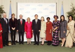 Dignitaries gather to celebrate the launch of UN Women.
