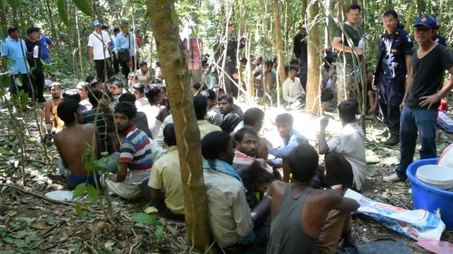After the trip on a boat the victims are held in jungle camps.
