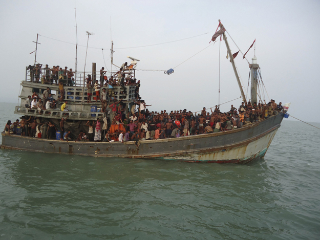 The victims are being brought to jungle camps on Trawlers, watched by armed guards the entire journey.