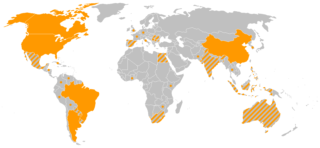 2005 world production map of GMOs. Solid orange represents countries that produce more than 95% of GMO products. Orange and gray stripes represent countries that produce commercialized GMO products. Orange dots represent countries participating in experimental GM crops.