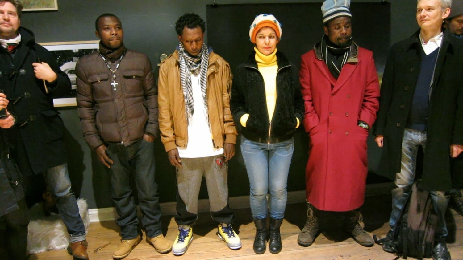 Liuba together with refugees in Berlin.