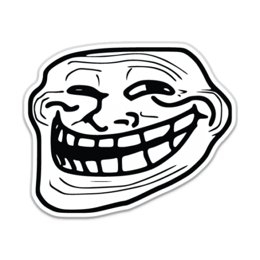 This sarcastic laughing face became the icon for trolling.