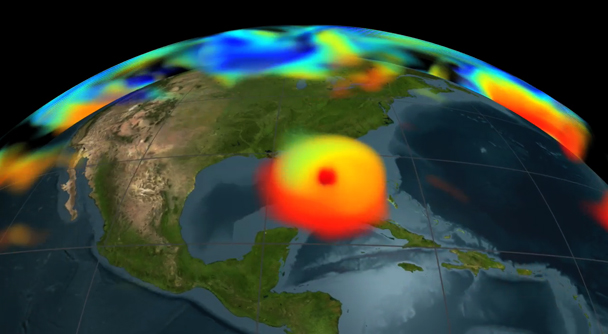 The carbon dioxide visualization was produced by a computer model called GEOS-5, created by scientists at NASA.
