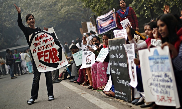 Protesters mark the anniversary of the Delhi gang rape of Jyoti Singh in 2012
