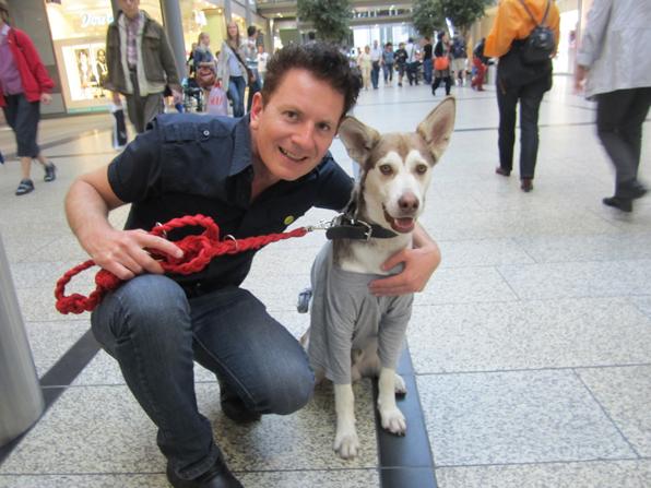 Marc Hairapetian with his dog Felix, a Sibirian Wolfdog-Husky Mix