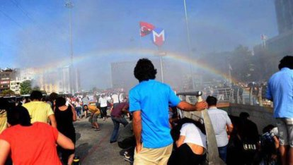 water cannon rainbow gay pride istanbul