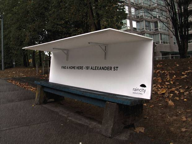 The benches offer shelter from the Vancouver rain - and advice about where to seek more long-term help.