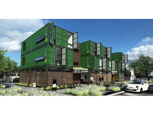 One example is the apartment complex made from recycled shipping containers, which is currently being built in downtown Phoenix, Arizona. It was designed by The architecture firm StarkJames LLC