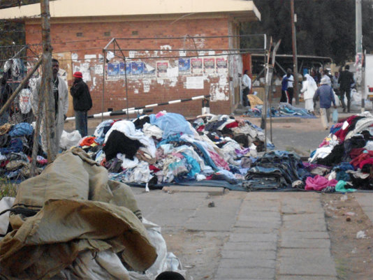 Vendors displaying clothes along Lobengula Street in Bulawayo/Zimbabwe