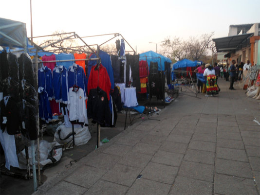 Vendors selling along Third Avenue in Bulawayo/Zimbabwe