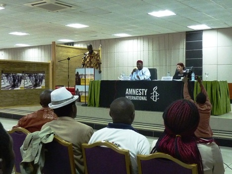 Alioune Tine, Amnesty International director for West and Central Africa, speaking at the conference center of Hotel La Falaise in Yaoundé.