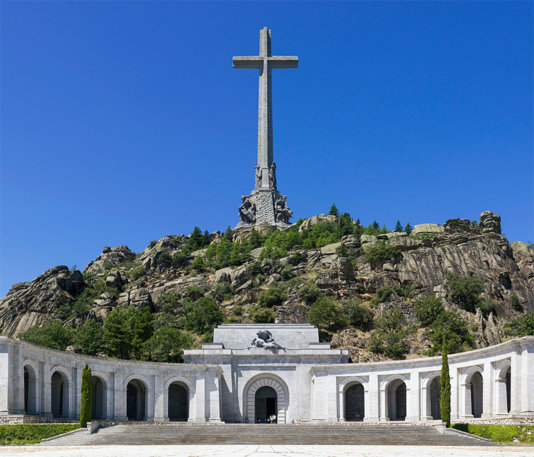 Valle de los Caídos (Valley of the Fallen), located in the municipality of San Lorenzo de El Escorial, Spain, is both a memorial and basilica conceived by Franco, who is buried within the mountain.