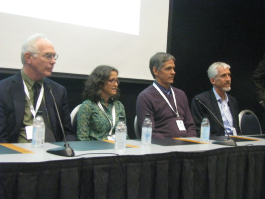 Left to right: Larry Hinzman, Sue Natali, Scott Goetz, Max Holmes, at a session on global consequences of a warming Arctic at the Arctic Circle Assembly in Reykjavik