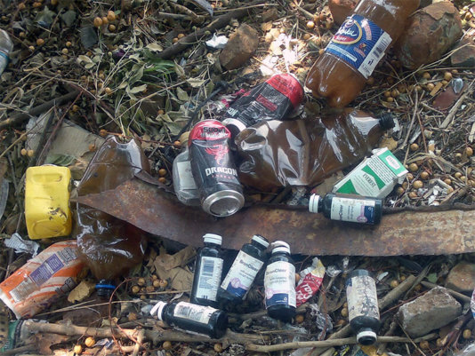 Discarded containers of Broncleer, Dragon energy drink , Chibuku Sorghum beer and Cigarettes in a backyard in Bulawayo