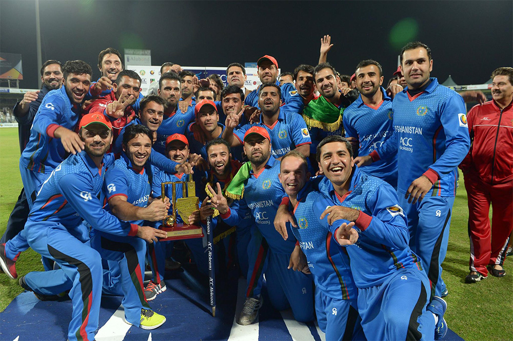 The Afghanistan Cricket Team after their victory at Sharjah