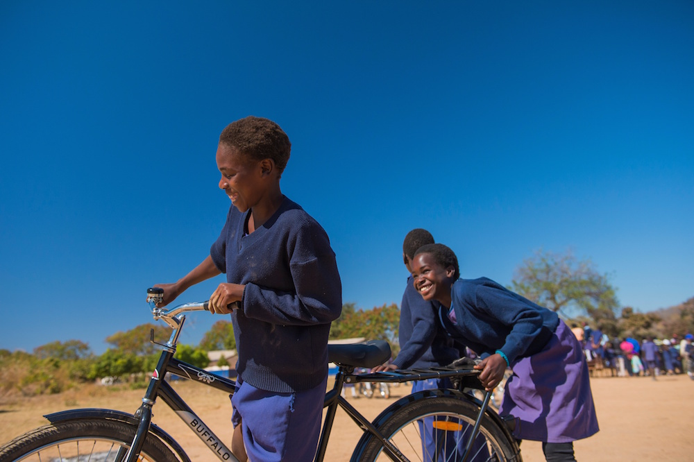 Kabulaonga Primary School in rural Zambia received 100 bicycles from World Bicycle Relief. A local committee selected recipients based on distance traveled to school. Tamara was one of the students to receive a bike.