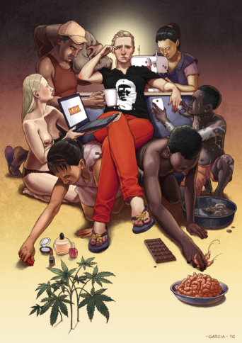 Daniel-Garcia-Art-Illustration-Personal-Slaves-Capitalism-Consumer-Product-Woman-Man-Fashion-Food-Porn5