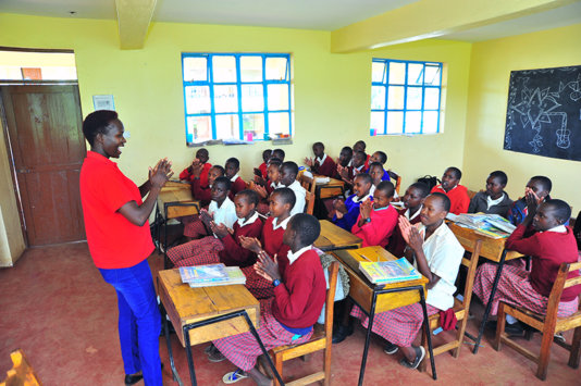 Dr. Kakenya Ntaiya in the class room