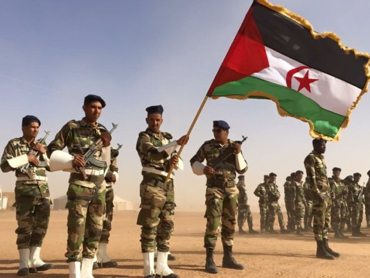 Members of Polisario Front in a military parade held in Tindouf