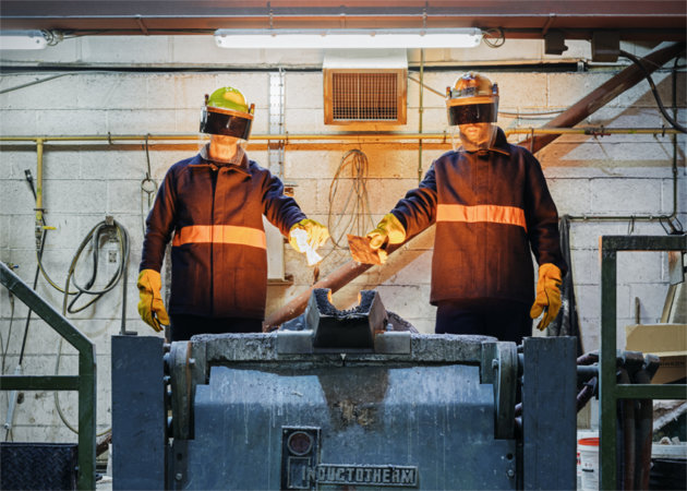 Karl Ohiri and Sayed Hasan are dropping pieces of their granddads\' cars into a melting pot at a Sheffield steel foundry. This joins other metals to create the steel ring at the centre of the exhibition.