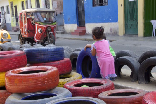 A play area made by Occupy Your Street in an abandoned lot. Is placed in a shanty town with no public spaces at all.