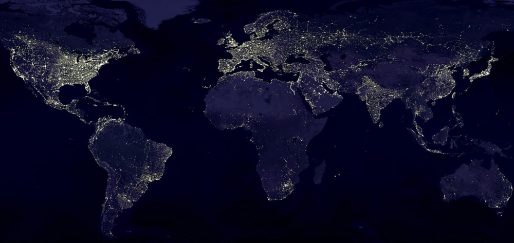Electricty usage on earth seen from space.  To a large extend regions with no or little electricity infrastructure are either tropical forrests, savanna or deserts.
