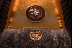 UN lectern empty