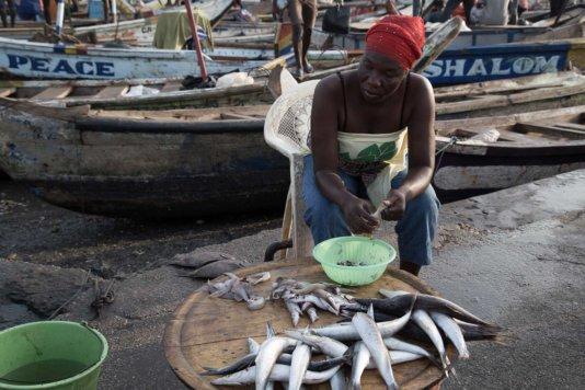 Fishmonger in the market in Elmina, Central Region
