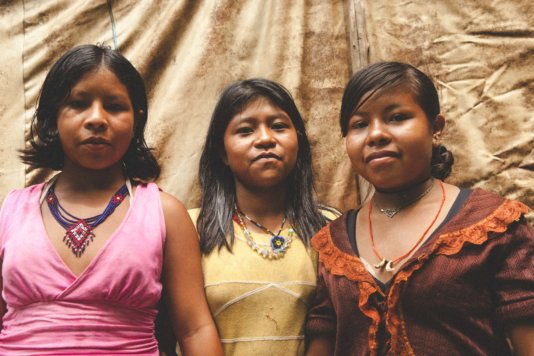 Portrait of women from Guaviraty indigenous community, which lives in Pontal do Paraná and may be forced to move if the road is constructed.